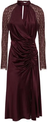 Jonathan Simkhai Wrap-effect Chantilly Lace-paneled Silk-blend Satin Midi Dress