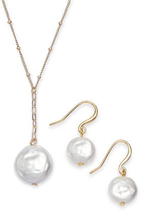 Alfani Gold-Tone 2-Pc. Set Imitation Pearl Pendant Necklace & Matching Drop Earrings