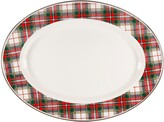 Golden Rabbit Highland Plaid Oval Enamel Serving Platter