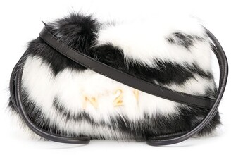 No.21 Eva Eco Zebra-Stripe Fur Drawstring Bag