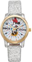 "Disney Disney's Minnie Mouse ""Rock the Dots"" Women's Leather Watch"