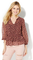 New York & Co. Pleated Tie-Front Blouse - Floral