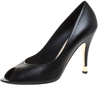 Chanel Black Leather Peep Toe CC Heel Pumps Size 38