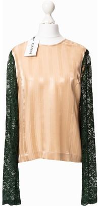 Ganni Beige Silk Top for Women