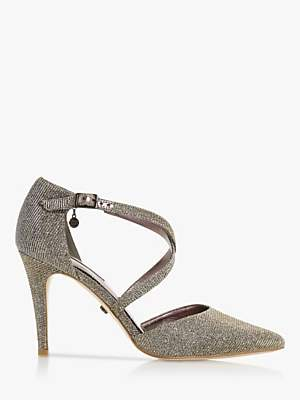 Dune Clancy Cross Strap Pointed Toe Court Shoes, Bronze