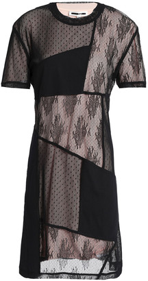 McQ Gathered Patchwork Jersey, Lace And Point D'espirit Mini Dress