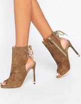 Carvela Taupe Suede Peep Toe Shoe Boot