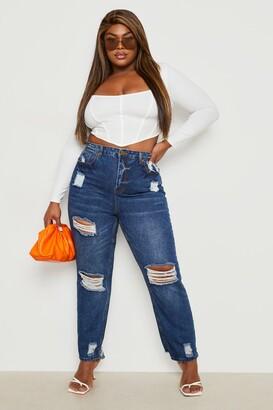 boohoo Plus Distressed High Waist Mom Jeans