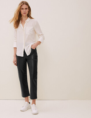 Marks and Spencer Leather Straight Leg Cropped Trousers