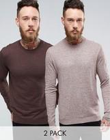 Asos 2 Pack Cotton Sweater In Brown/Pink Slub SAVE