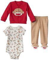 Baby Starters Sock Monkey Bodysuit, Cardigan & Pants Set