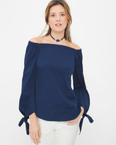 White House Black Market Navy Blue Tie-Sleeve Off-the-Shoulder Poplin Top
