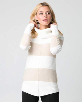 Le Château Stripe Boucle Cowl Neck Sweater