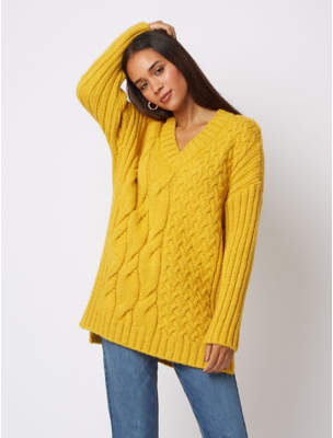 George Yellow Ochre Textured Cable Knit Longline Jumper