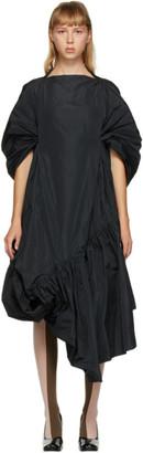 Paula Canovas Del Vas Black Taffeta Gathered Dress