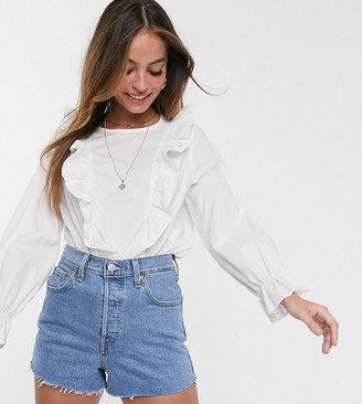 New Look Petite frill detail poplin shirt in white