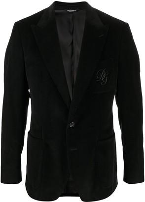 Dolce & Gabbana Embroidered Logo Corduroy Blazer