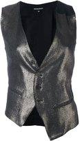 Ann Demeulemeester metallic waistcoat - women - Cotton/Linen/Flax/Nylon/Virgin Wool - 36