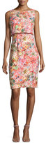 Badgley Mischka Sleeveless Floral Popover Dress
