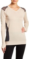 Blanc Noir Mesh Mix V-Neck Sweater