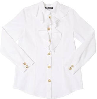 Balmain Ruffled Cotton Twill Shirt