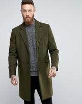 Asos Wool Mix Overcoat In Khaki