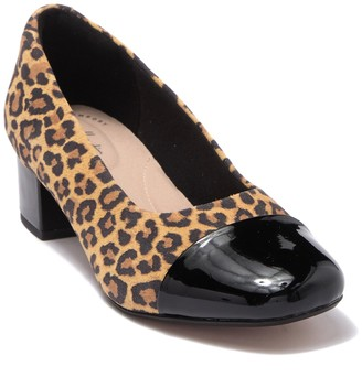 Clarks Chartli Diva Leopard Block Heel Pump