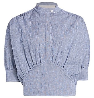 By Any Other Name Pinstripe Cummerbund Button-Up Top