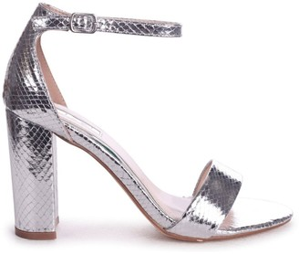 Linzi Nelly Silver Lizard Single Sole Block Heels