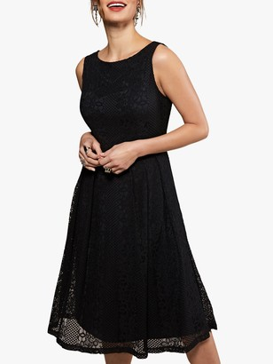 Yumi Fit And Flare Pleated Dress, Black