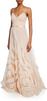 Marchesa V-Neck Sleeveless Textured Tulle Gown w/ Cascading Ruffles & Lace