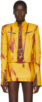 Mowalola SSENSE Exclusive Yellow Leather Kumbi Jacket