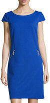 Chetta B Cap-Sleeve Zip-Pocket Sheath Dress, Royal