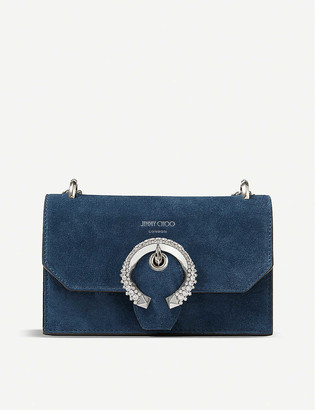 Jimmy Choo Paris crystal-embellished suede cross-body bag