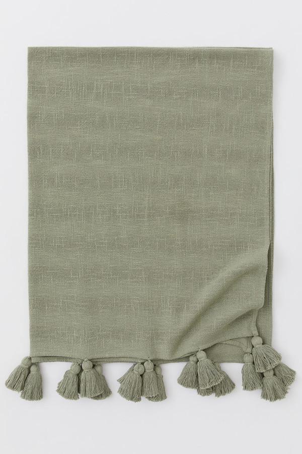 H&M - Tasseled Cotton Throw - Green