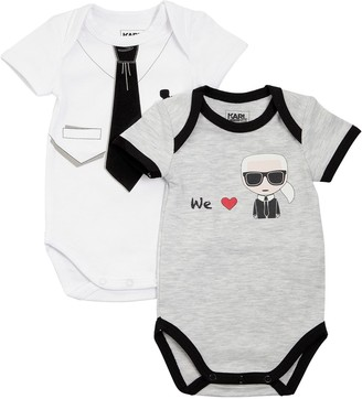 Karl Lagerfeld Paris Set Of 2 Cotton Jersey Bodysuits