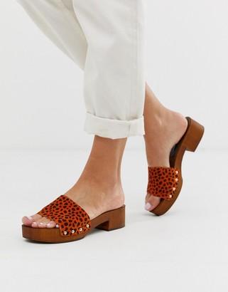 Asos Design DESIGN Transit suede heeled mule sandal in orange leopard-Multi