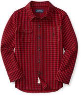 Ralph Lauren Cotton Jacquard Houndstooth Shirt, Size 2-7