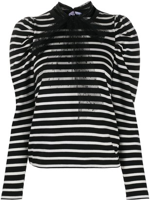 RED Valentino Pussy-Bow Detail Striped Top