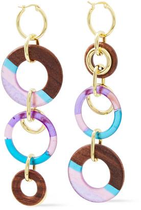 Noir 14-karat Gold-plated, Resin And Wood Earrings