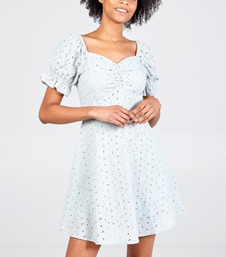 New Look Blue Vanilla Broderie Puff Sleeve Dress