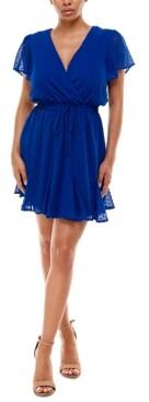 Trixxi Juniors' Clip-Dot Fit & Flare Dress