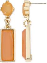 Liz Claiborne Linear Peach Gold-Tone Drop Earrings