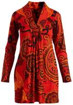 Aller Simplement Orange Abstract Gather-Front V-Neck Tunic