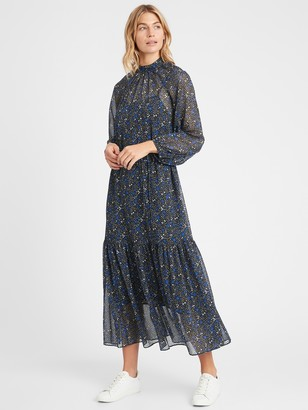 Banana Republic Petite Velvet Dot Maxi Dress