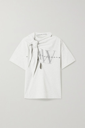 Alexander Wang Knotted Cutout Printed Cotton-jersey T-shirt - Light gray