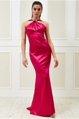 Goddiva Vicky Pattison Cerise Halter Neck Buckle Maxi Dress