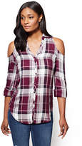 New York & Co. Soho Soft Shirt - Cold-Shoulder Shirt - Plaid