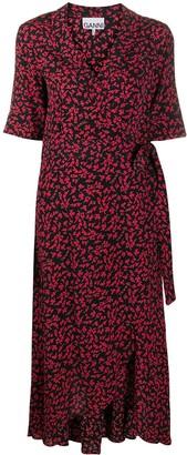 Ganni Printed Wrap Dress
