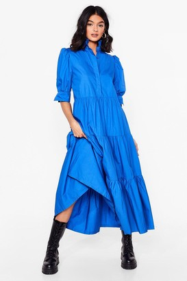 Nasty Gal Womens Smock What You're Doing Maxi Shirt Dress - Cobalt